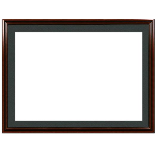A mahogany picture frame with black mat.