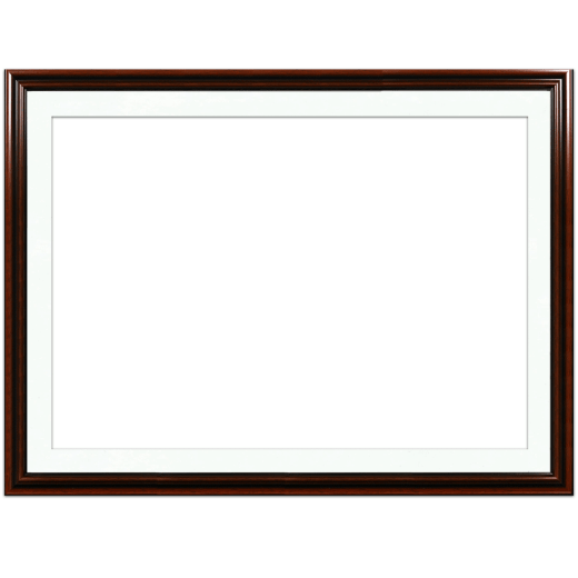 A mahogany picture frame with white mat.