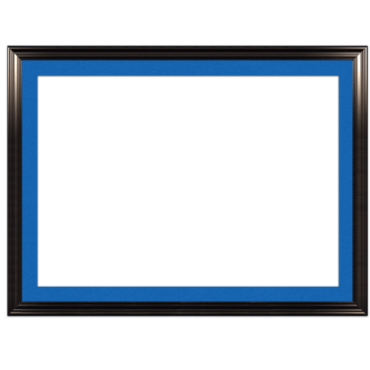 A black with bead picture frame with blue mat.