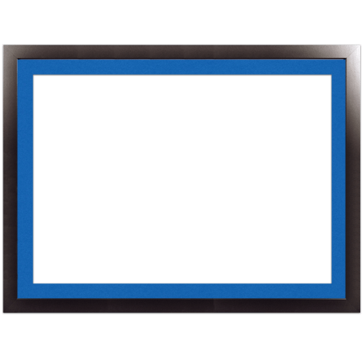 A smooth black picture frame with blue mat.