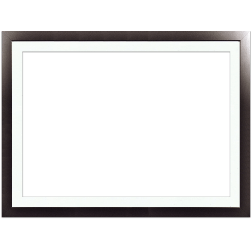 A smooth black picture frame with white mat.