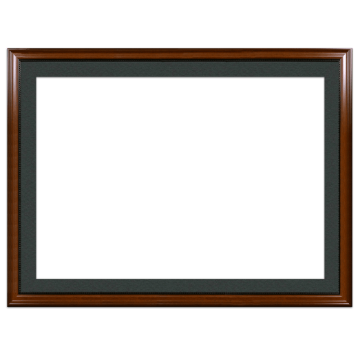 A walnut with bead picture frame with black mat.
