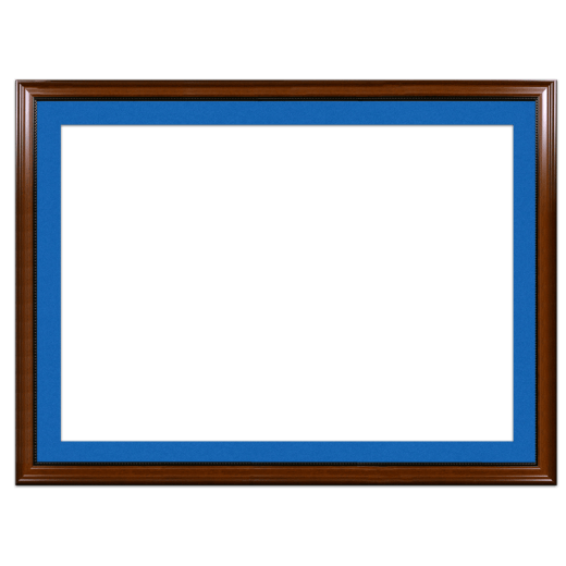 A walnut with bead picture frame with blue mat.