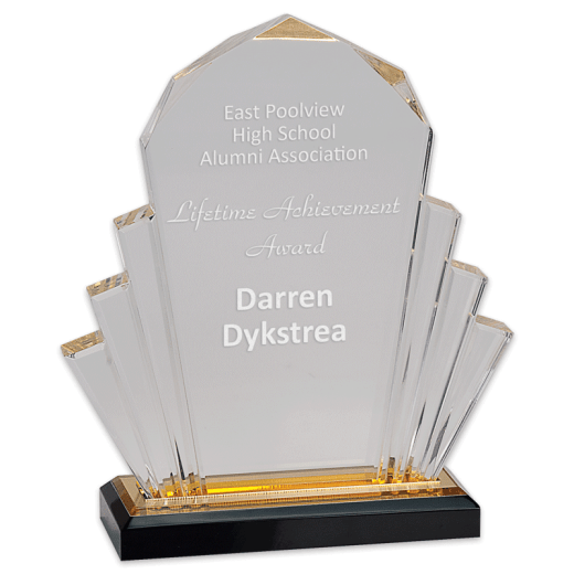 Sample engraving of Faceted Impress Acrylic award.