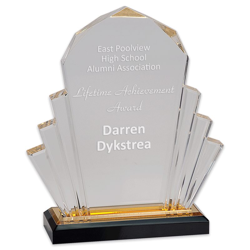 Faceted Impress acrylic award with sample engraving