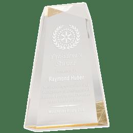 Sample engraving of Gold Facet Wedge Acrylic award.