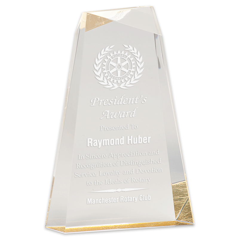 Acrylic award with sample engraving.