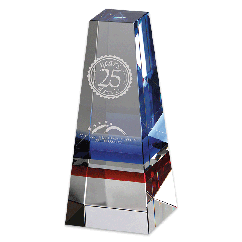 Infinity Crystal Award with sample etching.