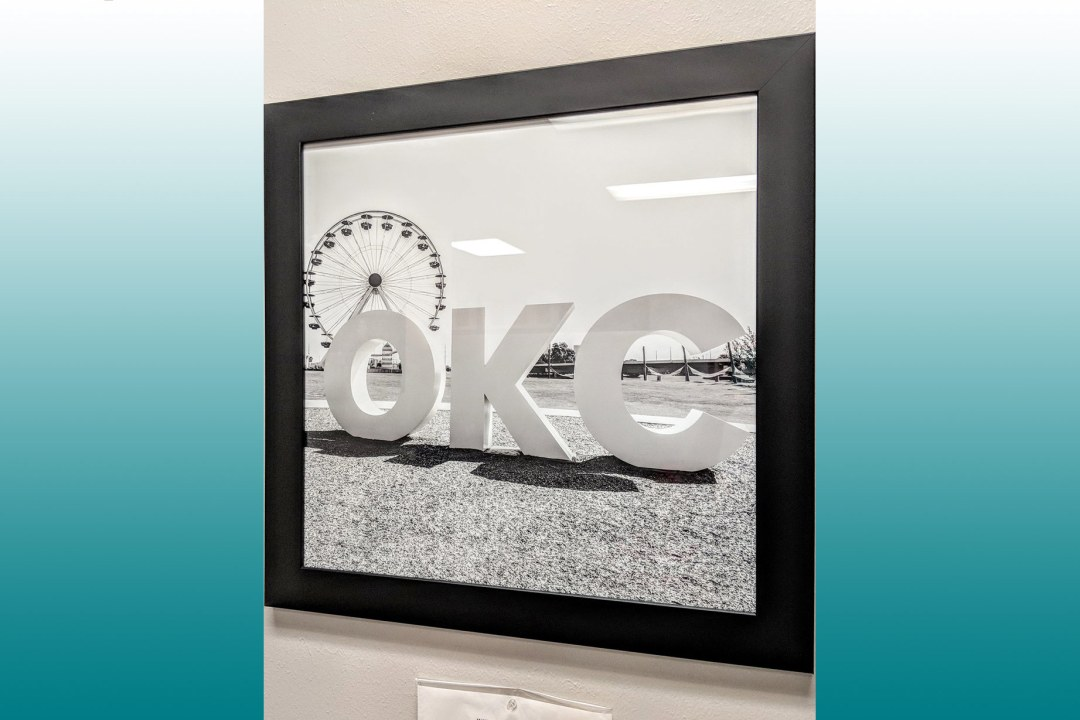 "Framed image of giant ""OKC"" letters at Wheeler Park."
