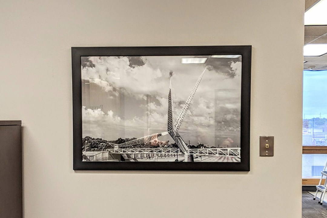 Framed image of scissortail bridge.