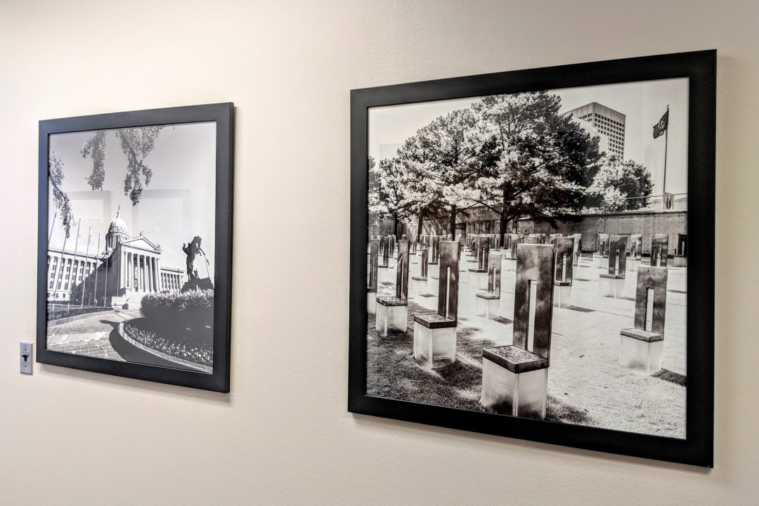 Two framed images by IronLace Photography hung at OU Health Sciences Center.