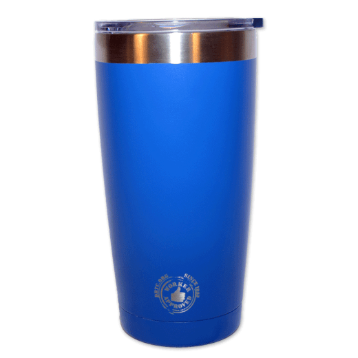 """Back design of silver 20 oz tumbler with the words """"Worker Approved since 1953 DRTC.org."""""""