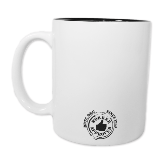 "Back of Latitude/Longitude mug, with the Worker Approved thumbs up logo and ""DRTC.org Worker Approved since 1953."""
