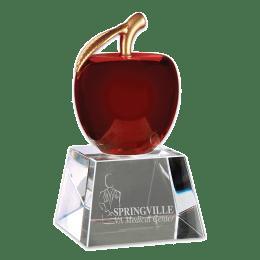 Sample engraving of Red Crystal Apple award.