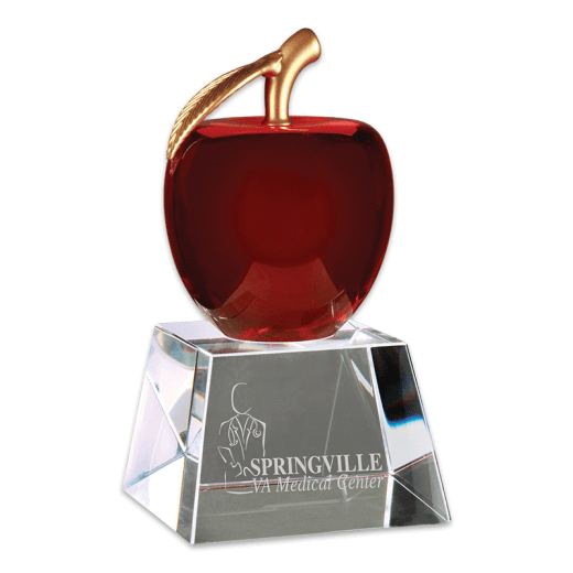 Sample engraving of Red Crystal Apple award.