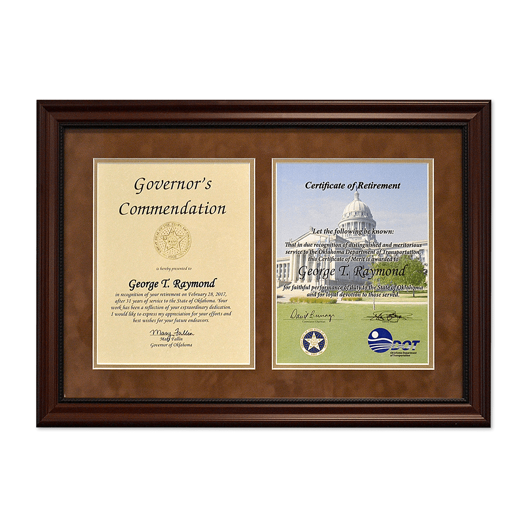 Dual retirement certificate and commendation letter frame.