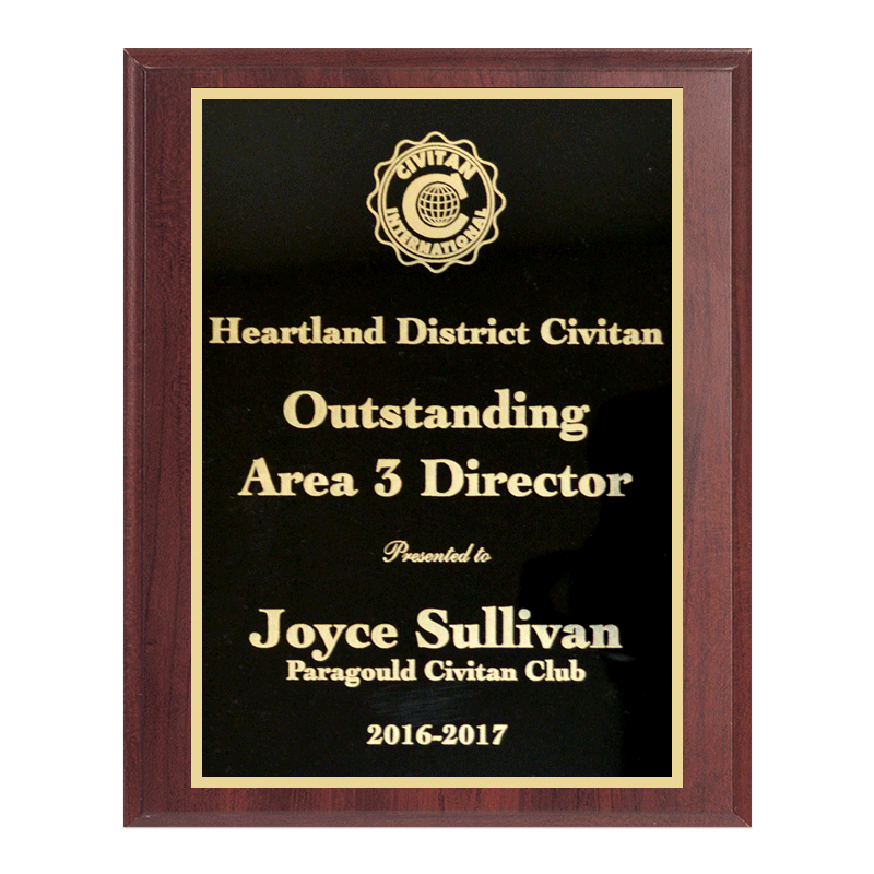 Plaque with sample engraving.