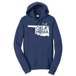 "Navy hoodie with the shape of Oklahoma design on chest. Graphic design also says ""Oklahoma"" where the second ""o"" is the state shield. Also features a scissor tailed flycatcher."