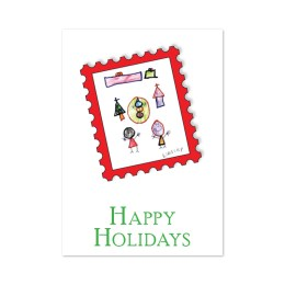 """""""Warm Hearts"""" front cover design. Hand-drawn people, holiday tree, snowman, presents set in a red stamp graphic. """"Happy Holidays."""""""