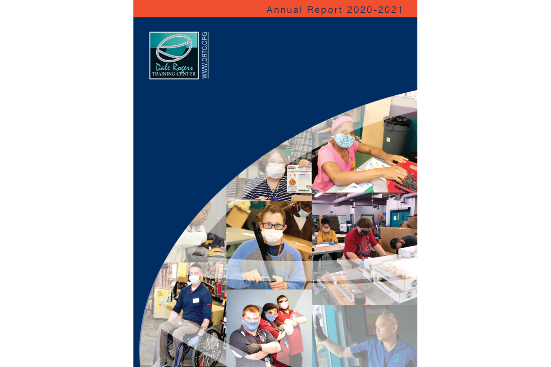 """Fall 2019 Quarterly Newsletter cover. Includes images of DRTC clients in various forms of work and the text, """"Dress for Success,"""" and """"National Disability Employment Awareness Month."""""""