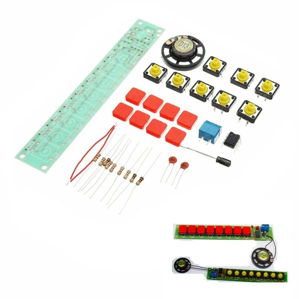 5pcs DIY NE555 Electronic Piano Organ Keyboard Module Kits With Battery Box And Button Cap Parts 1