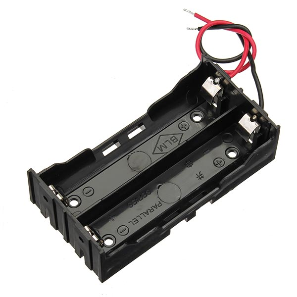 5pcs DIY DC 7.4V 2 Slot Double Series 18650 Battery Holder Battery Box With 2 Leads ROHS Certification 1