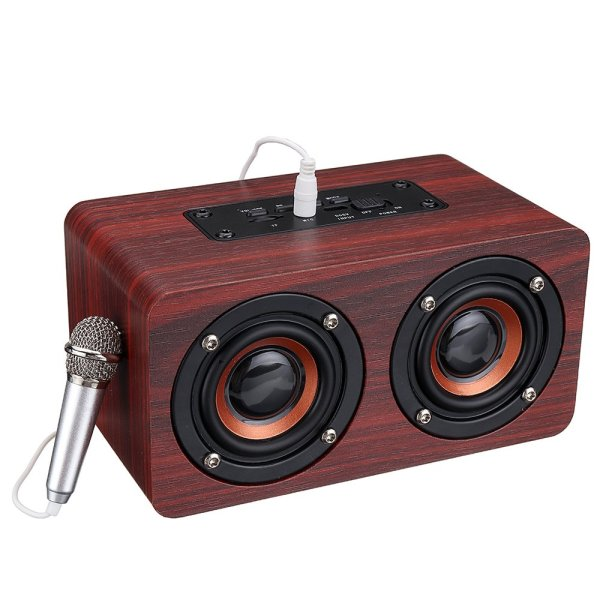 Wooden Stereo Bass Bluetooth 4.2 Speaker Audio Music Box with Mini Microphone 1