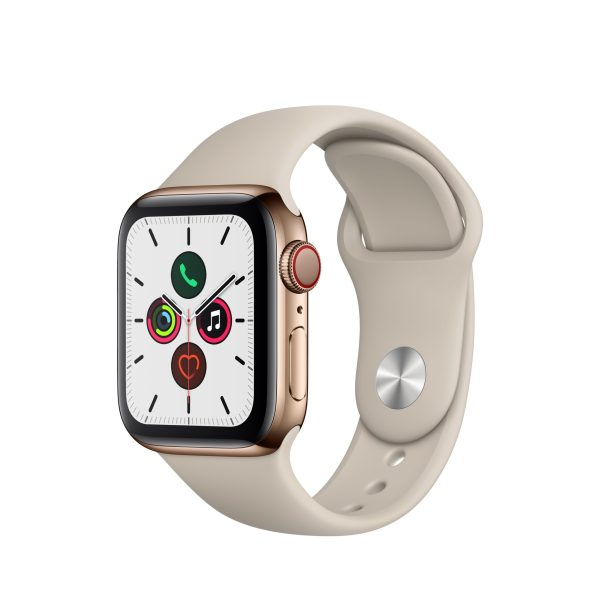 Apple Watch Series 5 GPS + Cellular, 40mm Gold Stainless Steel Case with Stone Sport Band - S/M & M/L 1