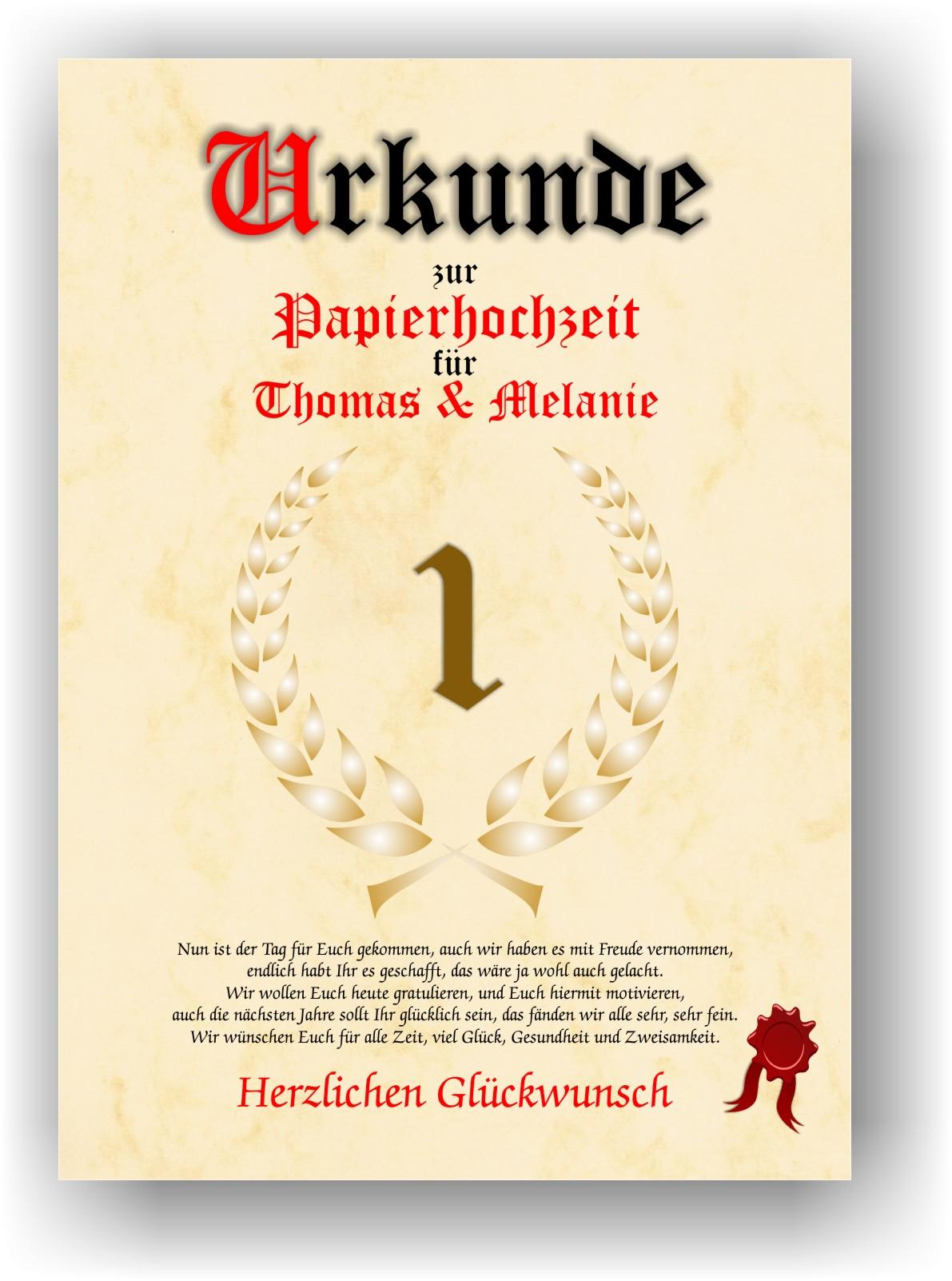 Papierhochzeit Urkunde 1 Hochzeitstag Geschenkidee Liebe Hochzeitsgeschenk NEU  eBay