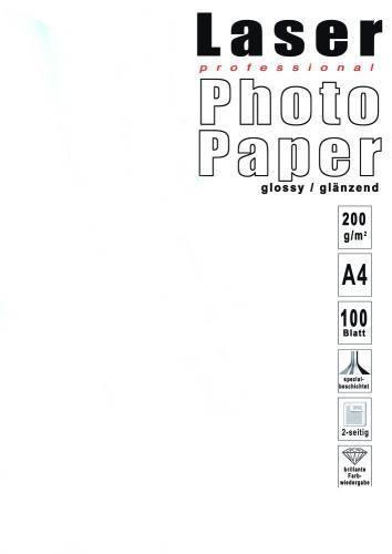 100 Blatt Laser Fotopapier, Photo Paper, Weiß, A4