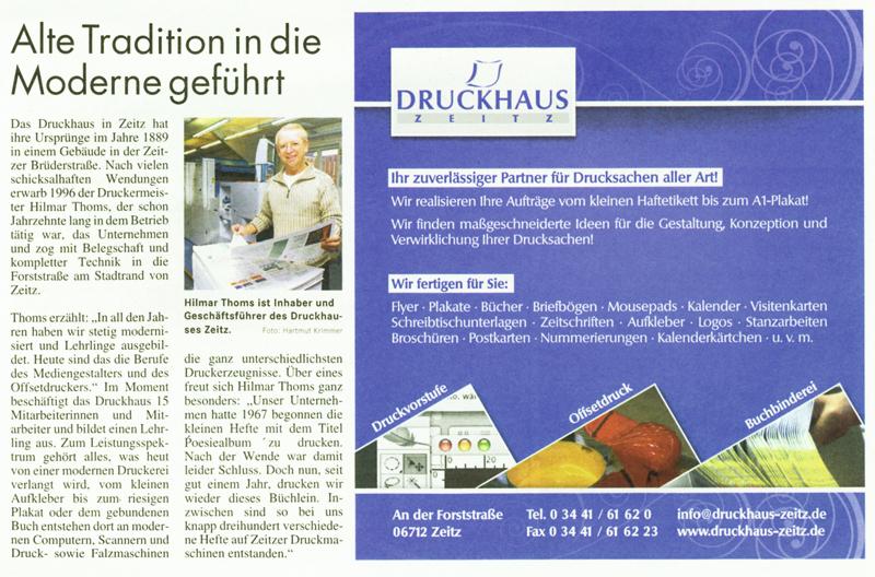 Zeitungsartikel Druckhaus Zeitz vom 1. Dezember 2008