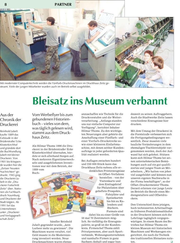 Zeitungsartikel Druckhaus Zeitz vom 15. Mai 2007
