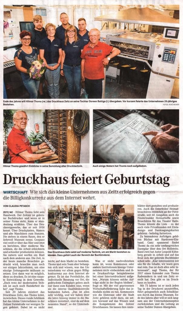 Zeitungsartikel Druckhaus Zeitz vom 4. August 2016