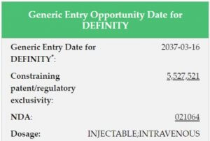earliest generic entry opportunity date