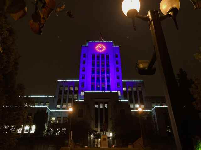 International Overdose Awareness Day City Hall lit up in purple; Vancouver; Aug. 31, 2020