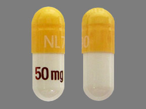 NL 790 50 mg Pill Images (Yellow & White / Capsule-shape)