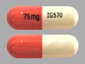 75 mg IG570 Pill Images (Orange & White / Capsule-shape)