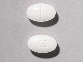 Par 725 7.5 Pill Images (White / Elliptical / Oval)