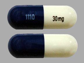 1110 30 mg Pill Images (Blue & White / Capsule-shape)