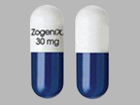 Zogenix 30 mg Pill Images (Blue & White / Capsule-shape)