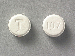 T 107 Pill Images White  Round
