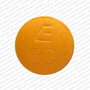 E 53 Pill Images (Orange / Round)