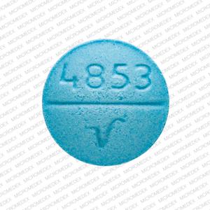 4853 V Pill Images (Blue / Round)