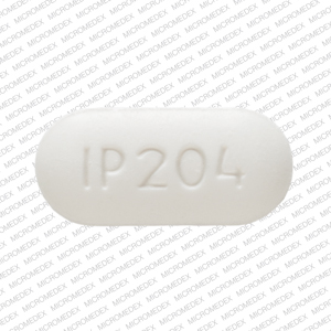IP 204 Pill Images (White / Elliptical / Oval)