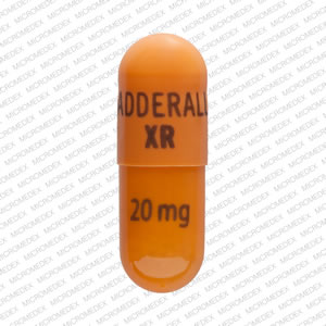 ADDERALL XR 20 mg Pill Images (Orange / Capsule-shape)