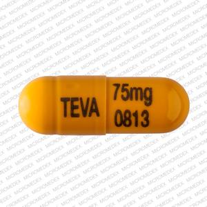 TEVA 75 mg 0813 Pill Images (Orange / Capsule-shape)