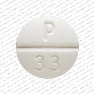 P 33 Pill Images (White / Round)