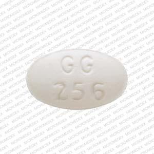 GG 256 Pill Images (White / Elliptical / Oval)