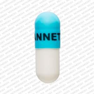 Logo LANNETT 1743 Pill Images (Blue & White / Capsule-shape)