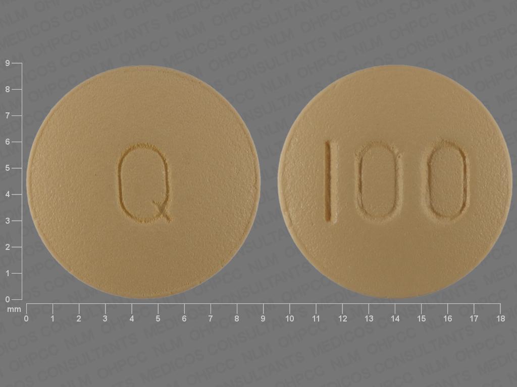 100 Q Pill Images (Yellow / Round)